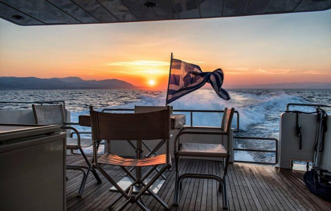 Fabulous views of the sunset from the spacious aft deck