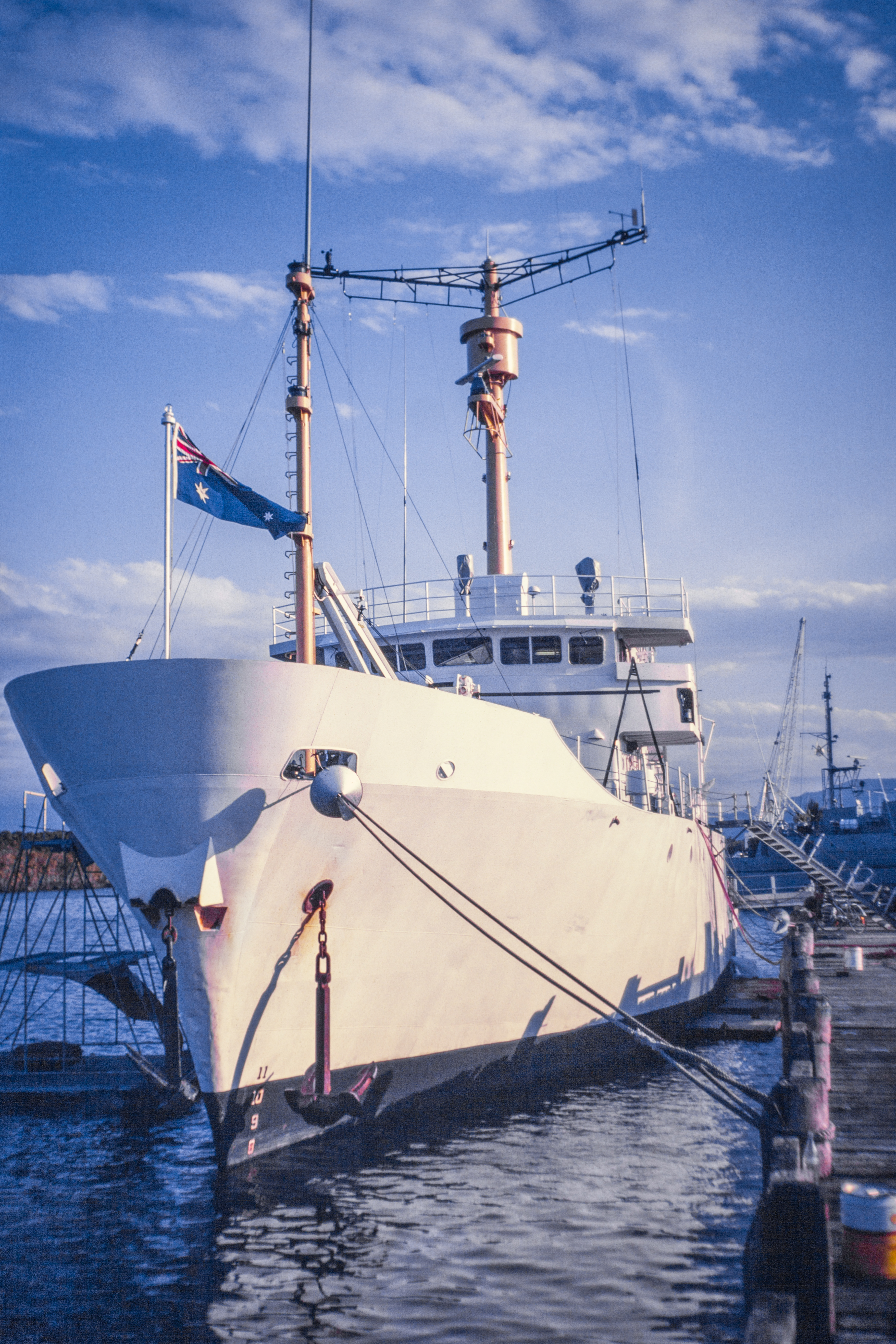 Alongside the fitting out wharf at NQEA preparing for refit. In Cairns, Queensland, Australia. Photo © Stephen Swayne