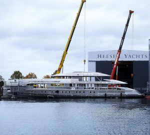 Motor yacht Project Electra hull and superstructure joined at Heesen