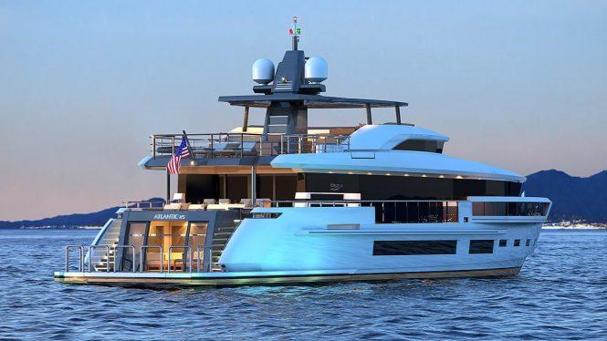 Heysea Atlantic 115 yacht aft view