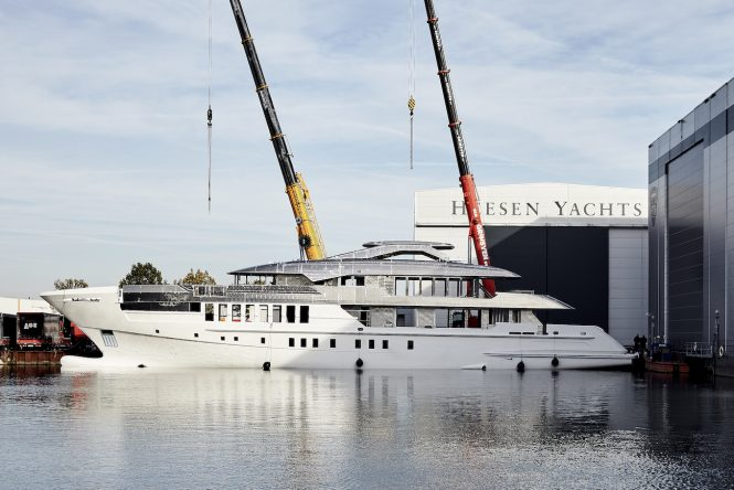 Joining of hull and superstructure of superyacht project Castor at Heesen Yachts - Photo © Heesen