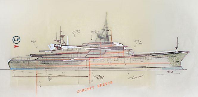 LP Design yacht concept-sketch GALAXIAS