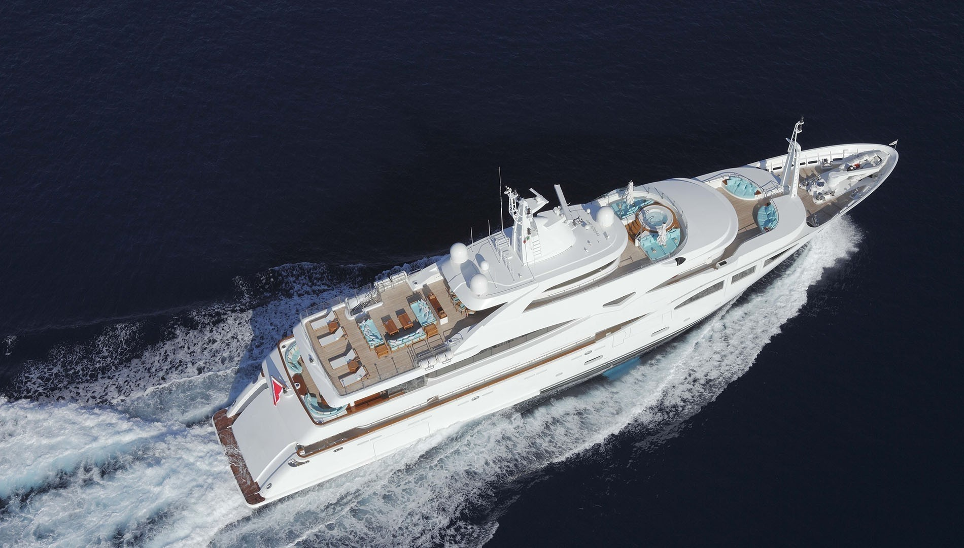 Motor yacht Ramble on Rose aerial view fo the vessel with great deck spaces