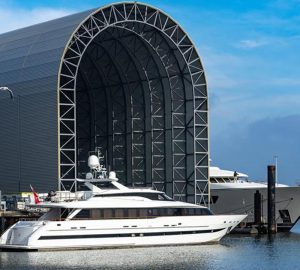 30m motor yacht ZABAVA under refit at ICON Yachts