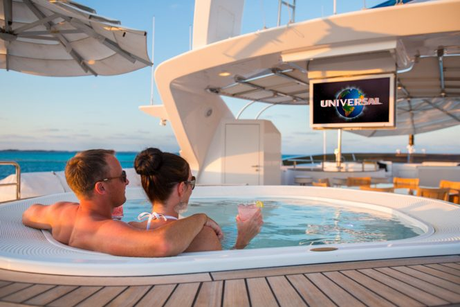 Relaxing in the onboard Jacuzzi hot tub