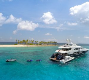Two amazing charter deals with 48m Bahamas motor yacht REBEL