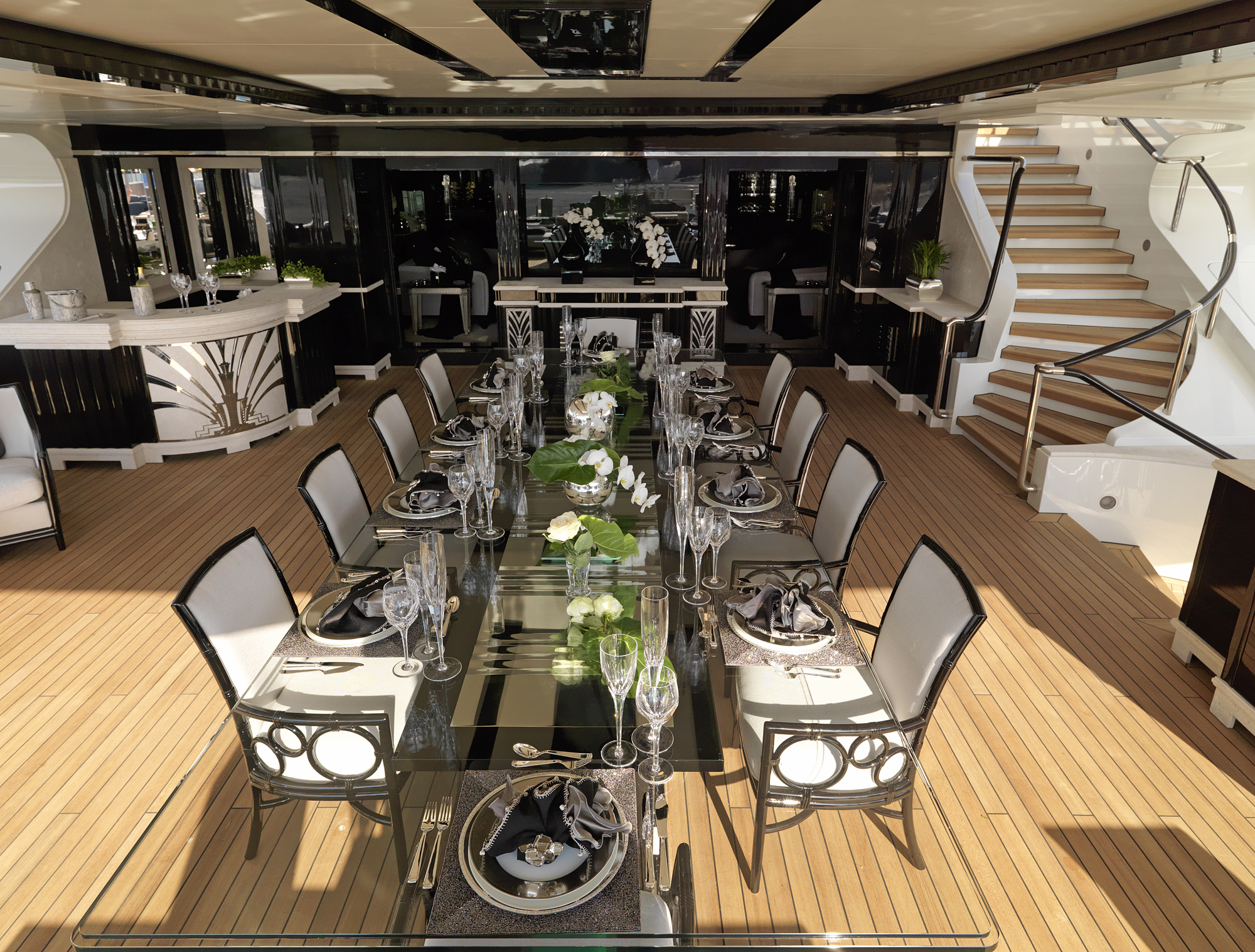 Beautiful dining area on the bridge deck