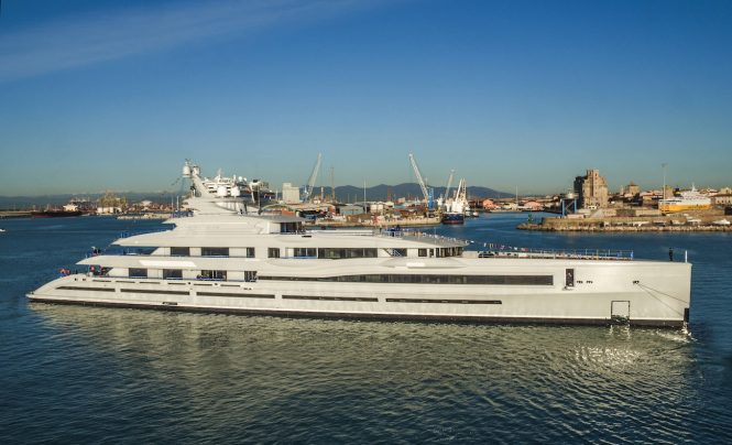 Largest giga yacht in Italy FB277 by Benetti Launched