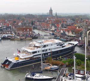 Largest Hakvoort SuperYacht to be - 63m SCOUT hits water in the Netherlands