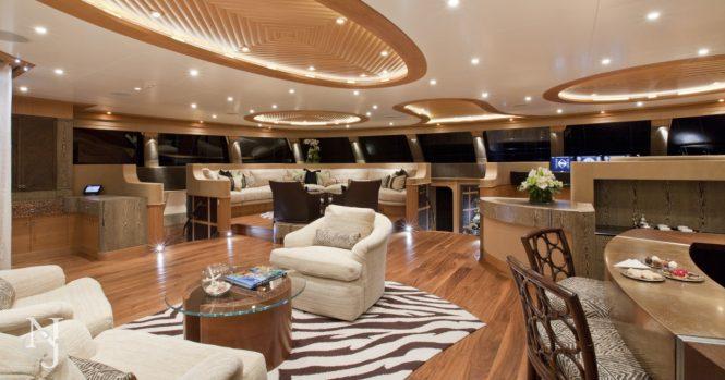 Saloon aboard catamaran yacht HEMISPHERE