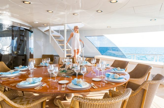 A number of dining areas offered throughout the yacht with alfresco dining options