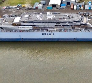 Video of 140+ metre mega yacht PROJECT REDWOOD under construction