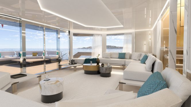 Interiors of the K47 yacht