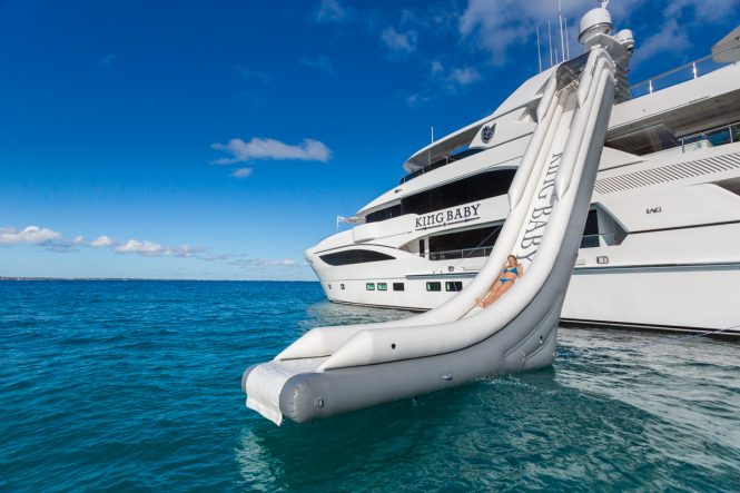 KING BABY superyacht with a water slide