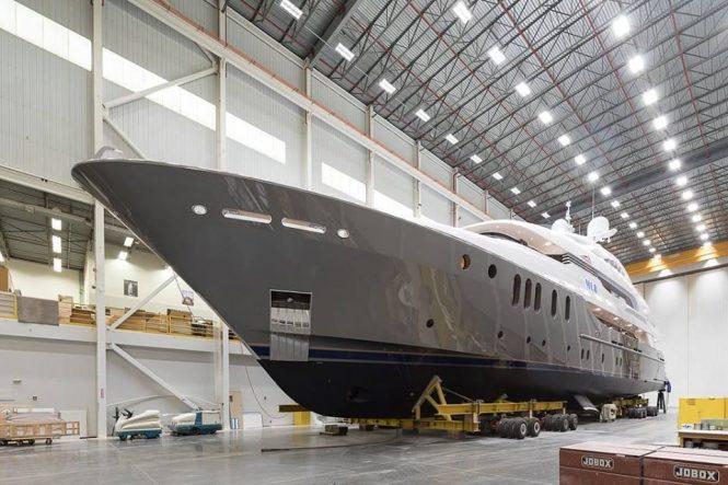 Motor yacht MLR getting ready for launch at Delta Marine shipyard - Photo © Delta Marine
