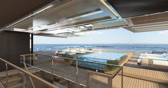 Sanlorenzo 64Steel aft deck with pool