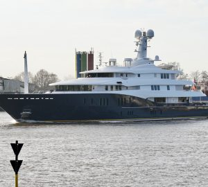 Video: 78m mega yacht C2 arrives at Abeking & Rasmussen for Refit