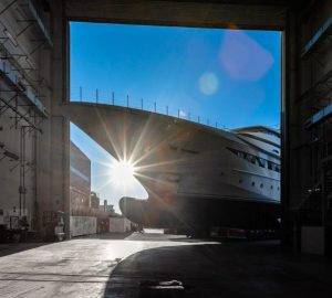 79m CRN 135 Superyacht getting ready for launch in Italy