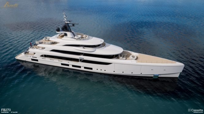 Benetti FB270 superyacht project VOGUE - aerial rendering