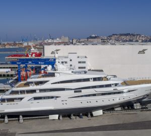 79-metre motor yacht CRN 135 moves onto slipway for launch