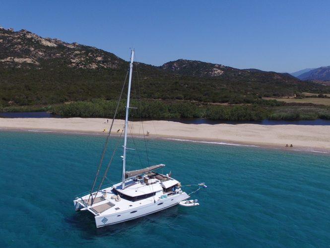Charter catamaran LIR in the Mediterranean in summer or Caribbean in the winter