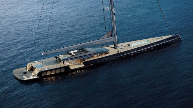 Exterior of the MM725 yacht concept Malcolm McKeon Yacht Design