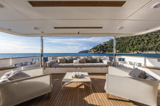 Fabulous aft deck lounging area