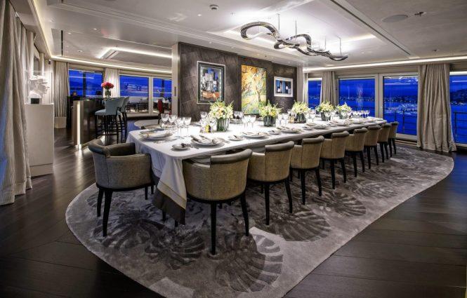 Formal dining area aboard mega yacht ELANDESS
