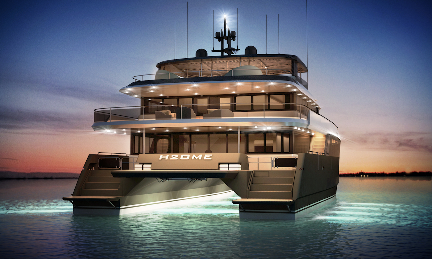 H2OME catamaran yacht by Amasea Yachts - aft view