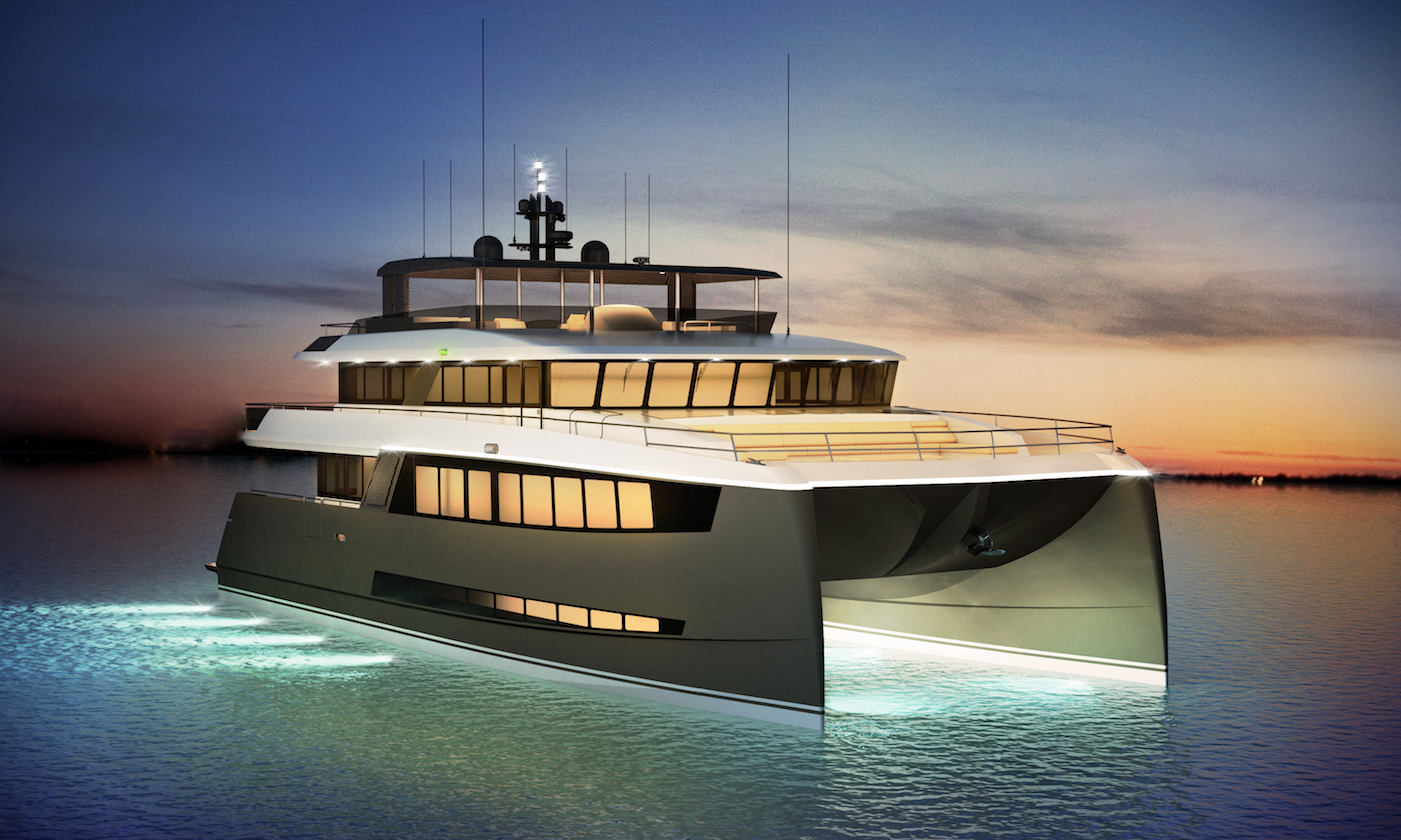 H2OME catamaran yacht by Amasea Yachts rendering by night
