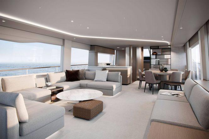 Interior of Princess Y85 yacht ©Princess Yachts