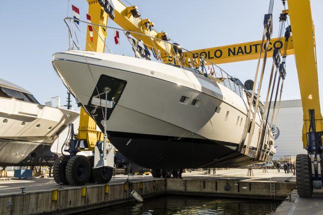 Launching of Mangusta 110 series, hull no. 4