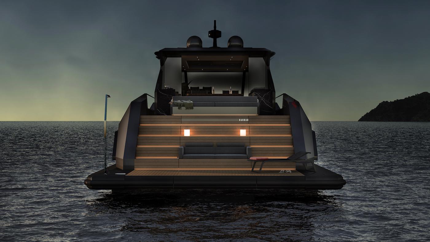 MAZU 82 motor yacht swim platform at night - rendering - © Mazu Yachts