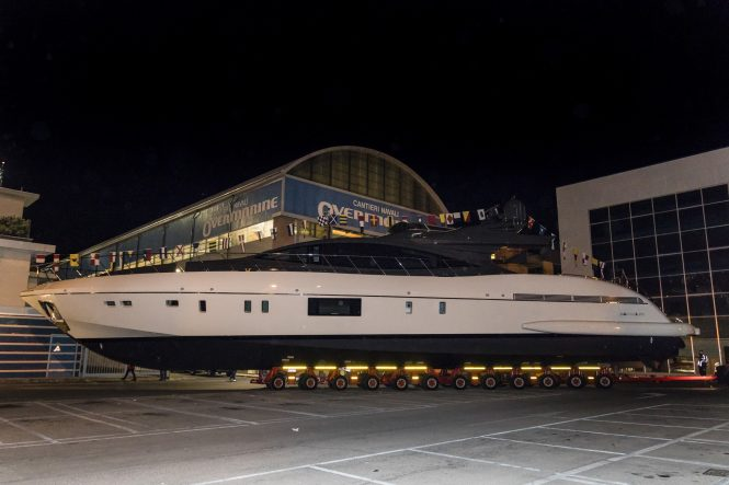 Mangusta 110 series hull no. 4 getting ready for launch
