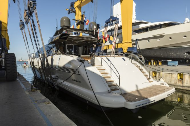 Motor yacht Mangusta 110 hull 4 touches water for the first time