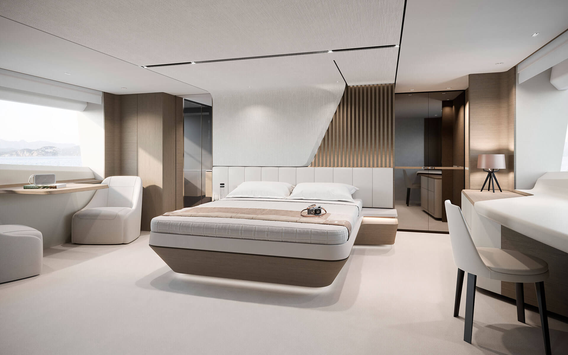 Princess Y85 master suite © Princess Yachts