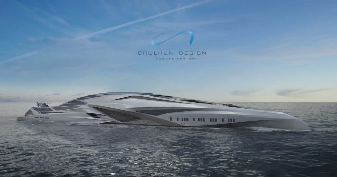 Profile of the 229m mega yacht concept VALKYRIE © Chalhun Design