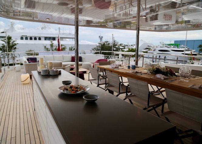 Spacious aft deck perfect for al fresco meals