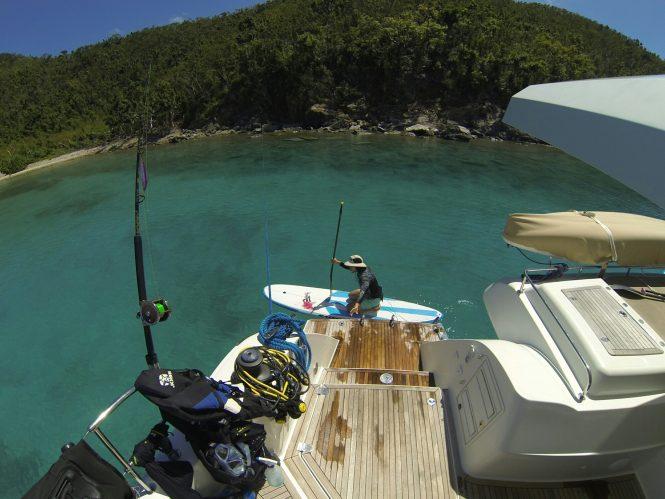 Aft swim platform with water toys