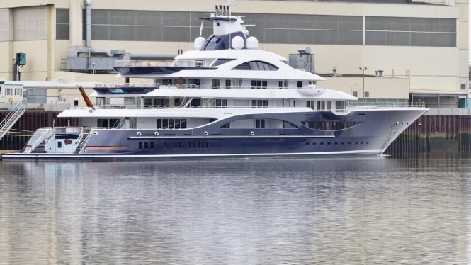 111m Mega Yacht TIS at Lurssen Shipyard - Photo DrDuu