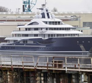 Lurssen's 111m (364') mega yacht Project TIS arrives in Lemwerder for final work
