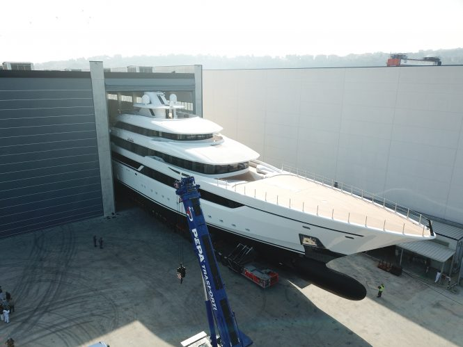 80m Columbus Classic superyacht DRAGON leaving shed in Ancona - Photo © Columbus Yachts