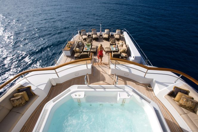Aft deck with a large swimming pool