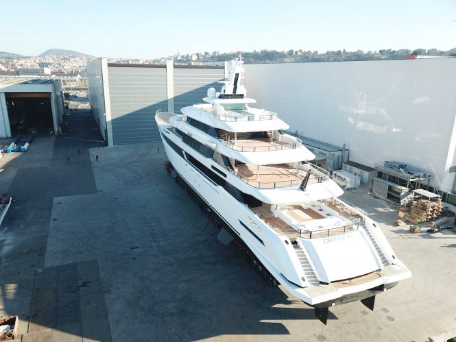 Aft view of DRAGON outside of the shed at Palumbo Shipyards in Ancona - Photo © Columbus Yachts