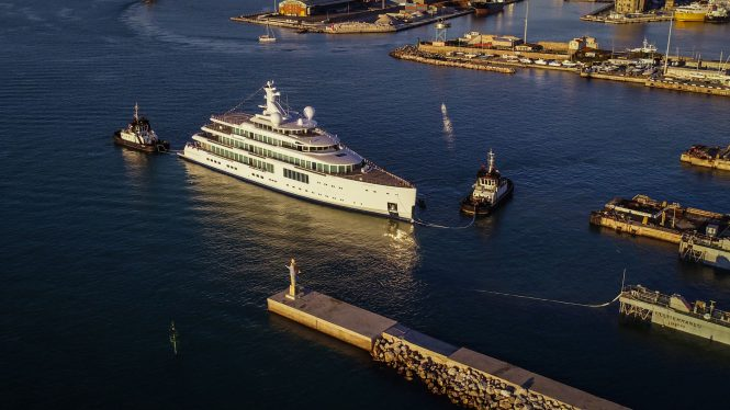 Benetti FB272 gigayacht launched in Livorno, Italy – Photo © Benetti