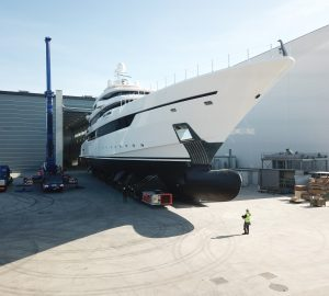 80m Columbus Classic luxury superyacht DRAGON leaves shed at Palumbo Superyachts