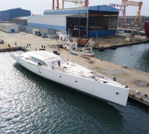 42-MetrePerini Navi sailing yacht E-VOLUTION prepares for completion in Viareggio