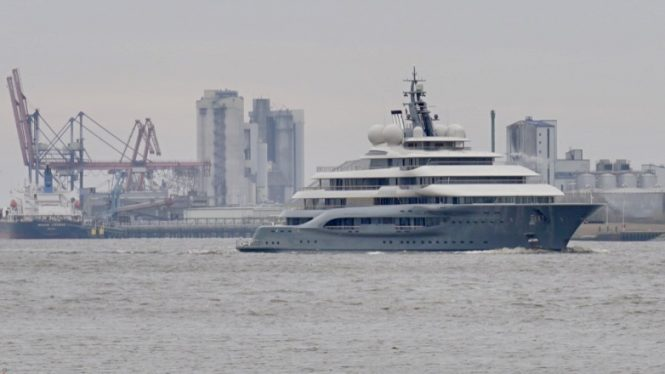 Impressive 136m mega yacht FLYING FOX leaving Lurssen following her delivery to the Owner