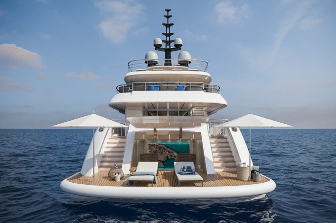 Large beach club ensures easy access to the water and the large selection of toys offered by the luxury yacht