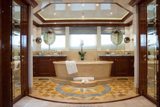Large ultra-deluxe master bathroom with a stunning bath tub